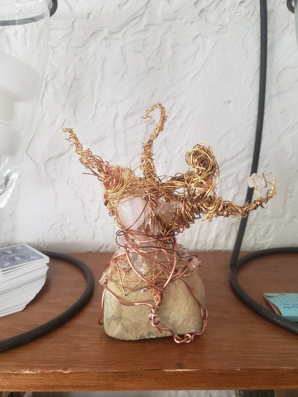 Whipping Copper Tree w/ Polished Rose Quartz - Copper Wire Sculpture - Home/Table Decor