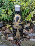 Vibrating Ankh In Gold #17 - 12 oz Inked Stainless Steel Water Bottle