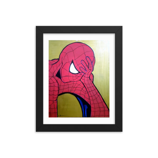 Disappointed Man in a spider-man suit Framed poster