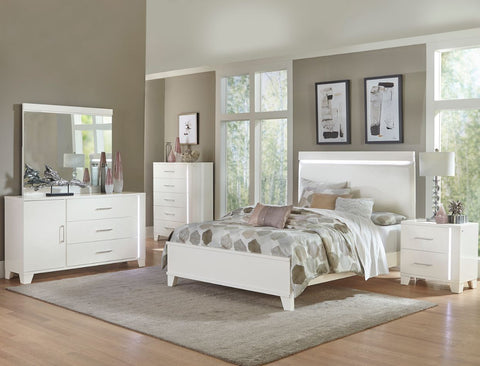 Keren - White King Bed w/ Dresser & Mirror