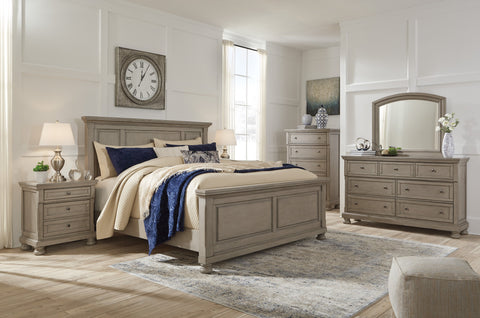 Lettner Light Gray King Panel Bed Set