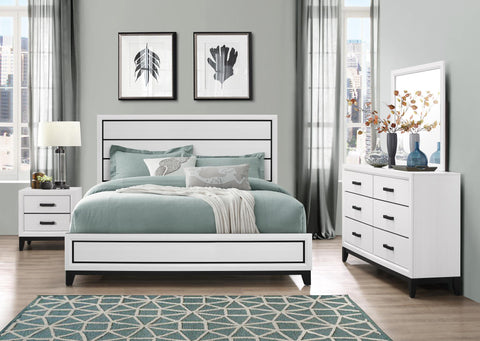 Kate White Queen Bed w/ Dresser, Mirror & Nightstand