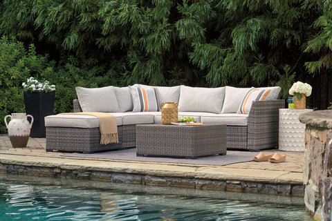 Cherry Point Loveseat Sectional With Ottoman and Table Set (4 per carton)
