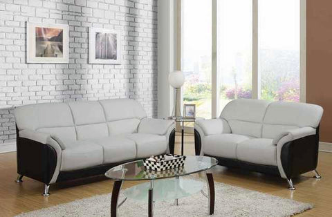 Dove Light Grey and Black Sofa & Loveseat