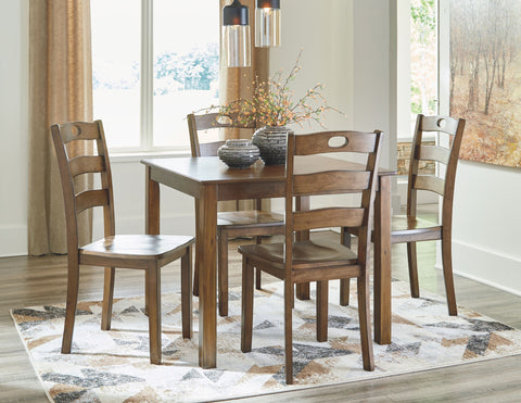 Hazelteen Medium Brown Table & 4 Side Chairs