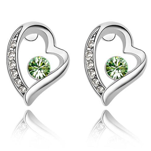 Earrings Crystal Heart <many crystal colors>