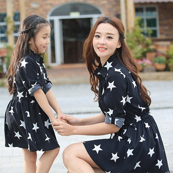Mom & Daughter Star Black Dress