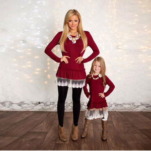 Mom and Daughter Long Sleeve Blouse Lace