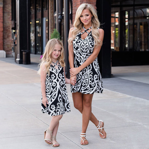 Mom & Daughter Sleeveless Black and White Print Dress