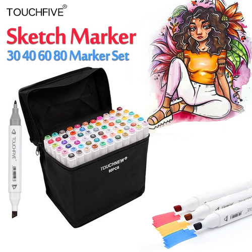 TouchFive Markers 60 Colors Twin Sketch Drawing Stundent Set