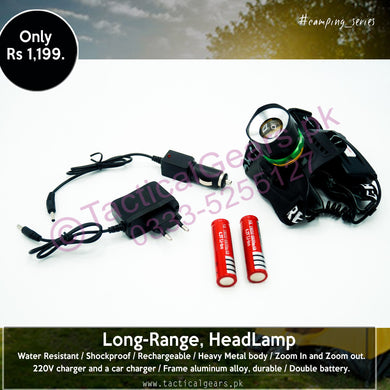 Rechargeable, Long-Range, HeadLamp # 1 with Rotational-Zooming (Double Battery)