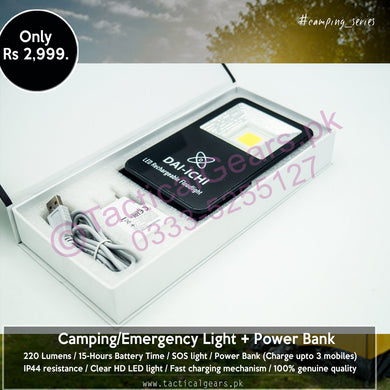 Camping/Emergency Light + Power Bank + SOS (15-Hours battery time)
