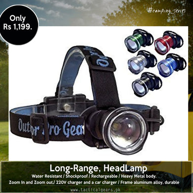 Rechargeable, Long-Range, HeadLamp # 2 with Retractable-Zooming (Double Battery)