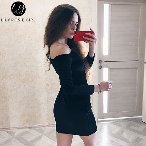 Sexy Off Shoulder Party Long Sleeve Dress