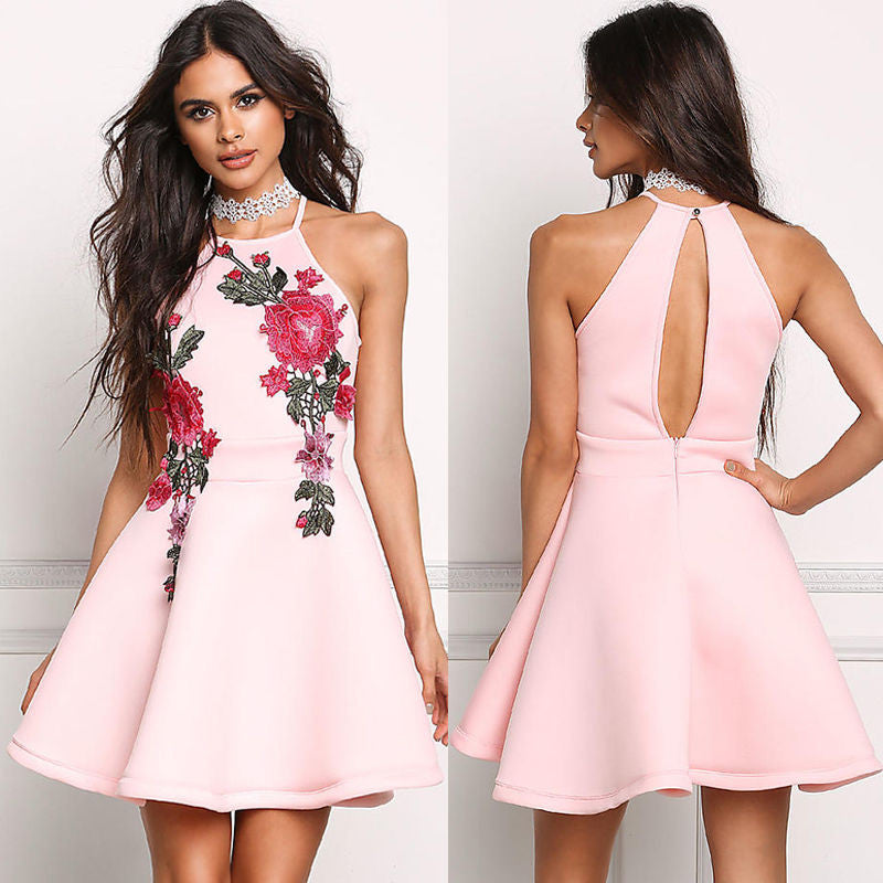 Floral Embroidery Sleeveless Hollow back Dress