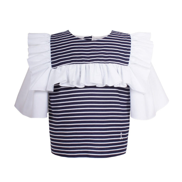 Frill Sailor Blouse Navy Stripe 6YRS SAMPLE