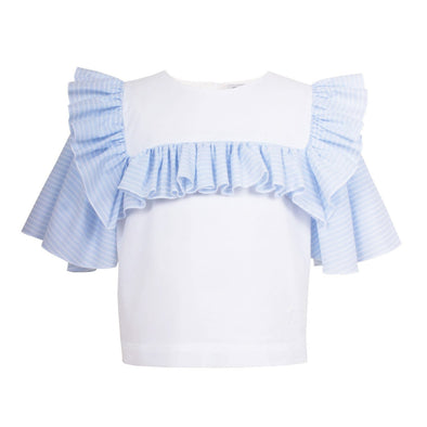 Frill Sailor Blouse Blue Lace Stripe