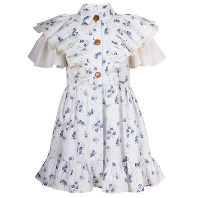 Rosalie Dress Blue Mini Flowers