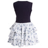 Twisted Circle Dress Blue Mini Flowers