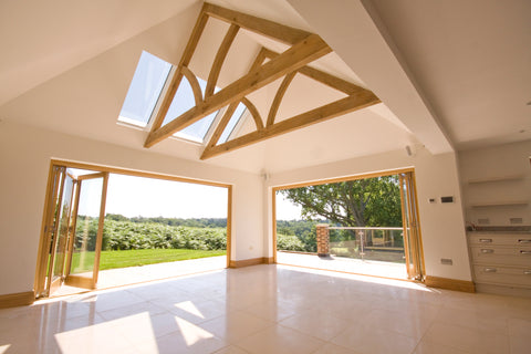 oak queen post trusses floating suspended