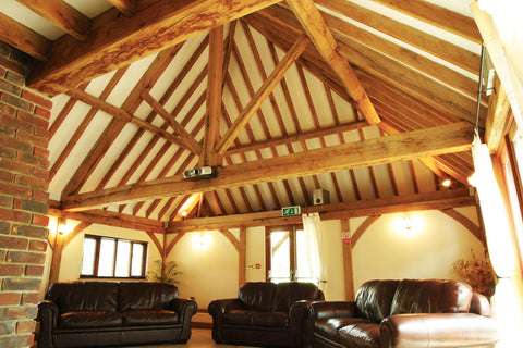 vaulted roof with exposed oak truss