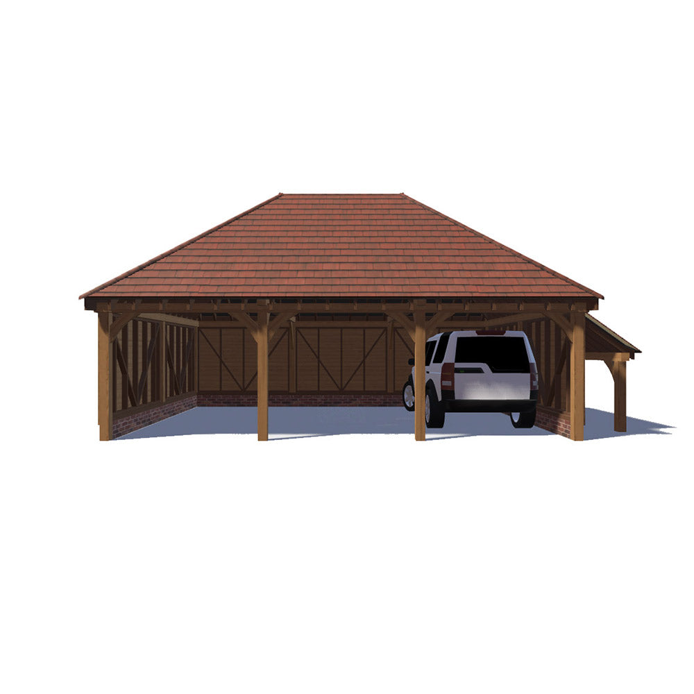 oak-framed-garage-40DEG-3-BAY-HIPPED-BOTH-ENDS-LOGSTORE-ON-LEFT-NO-CATSLIDE_1000.jpg