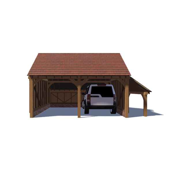2 Bay Oak Garage With Log Store And Cat Slide Gable End