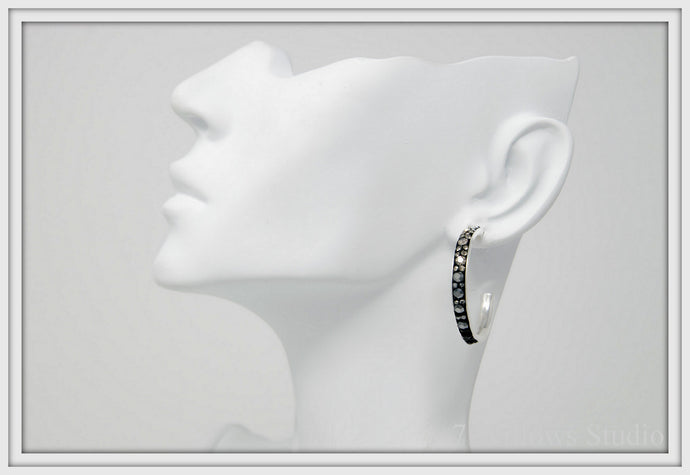 Black and White Large Hoop Earrings