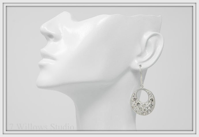 Crystal White Hollow Oval Dangle Earrings