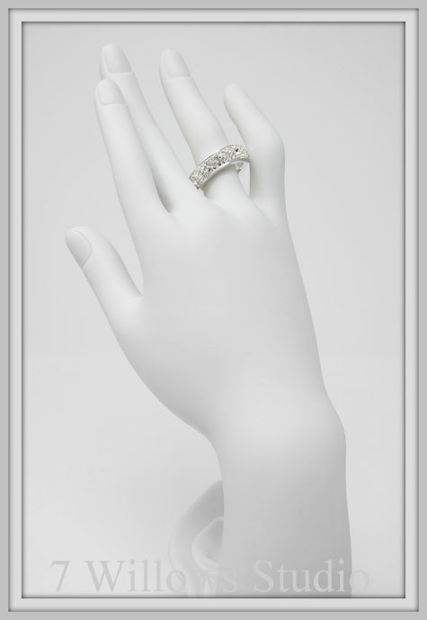 Crystal White Band Ring with Fancy Stones