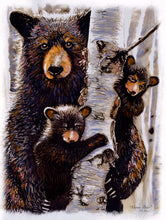 "9x12 ""Mama Bear"" Plaque (Black Bear & three cubs)"