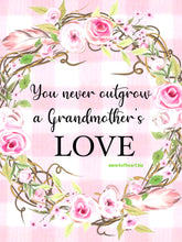 "9x12"" Grandmother's Love  (Pink Floral Wreath)"