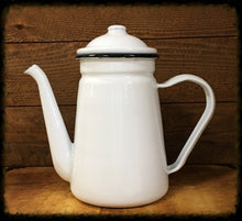 White Enamelware Pitcher