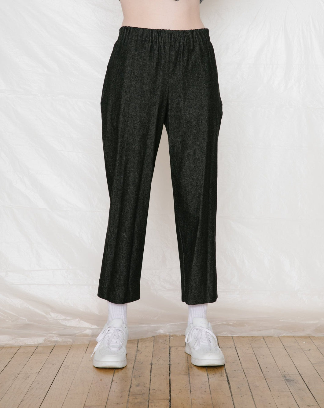 Slack Pants in Black Denim