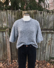 Merino Curly Mid-Sleeves Top in Grey