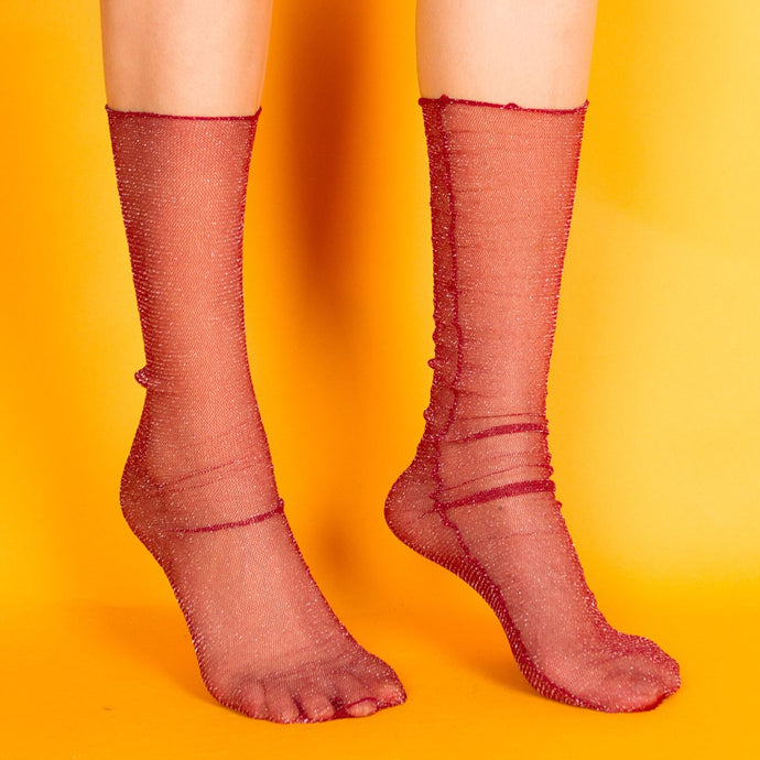 Diamond Sheer Socks in Red