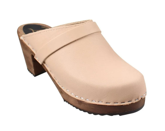 High Heel Classic Clog in Cappuccino on Brown Base with Strap