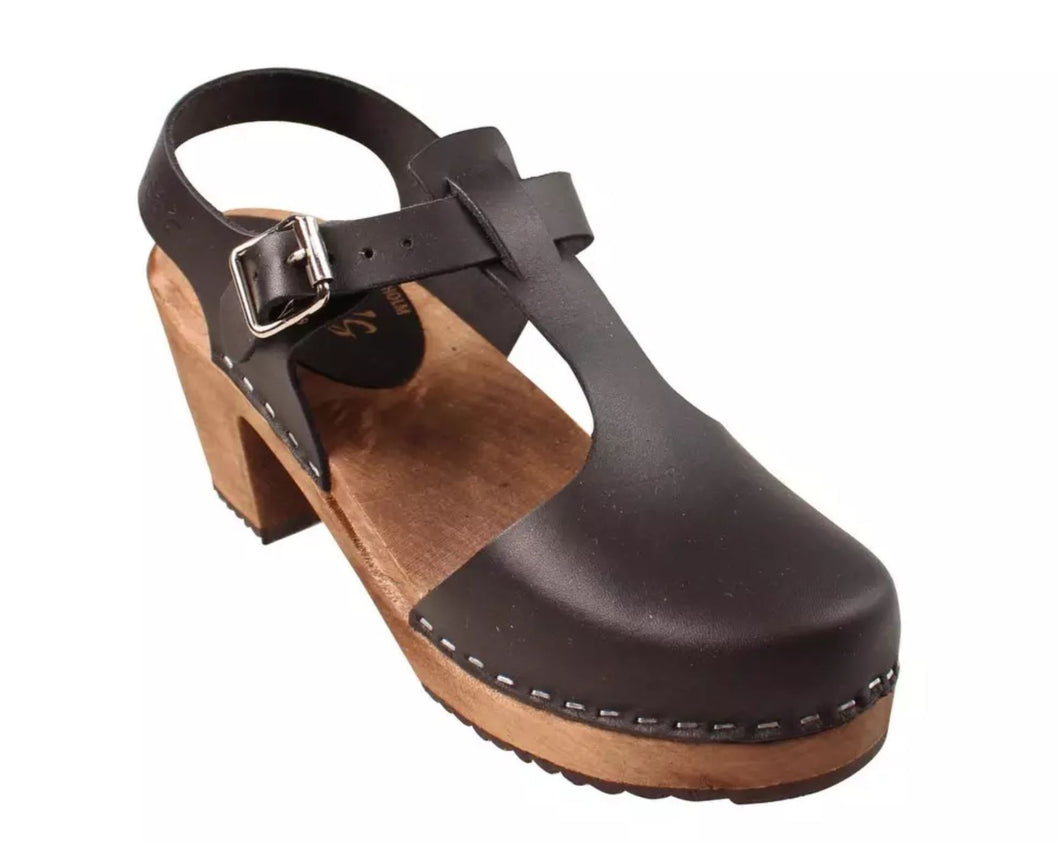Highwood T-Bar Clog in Black on Brown Base