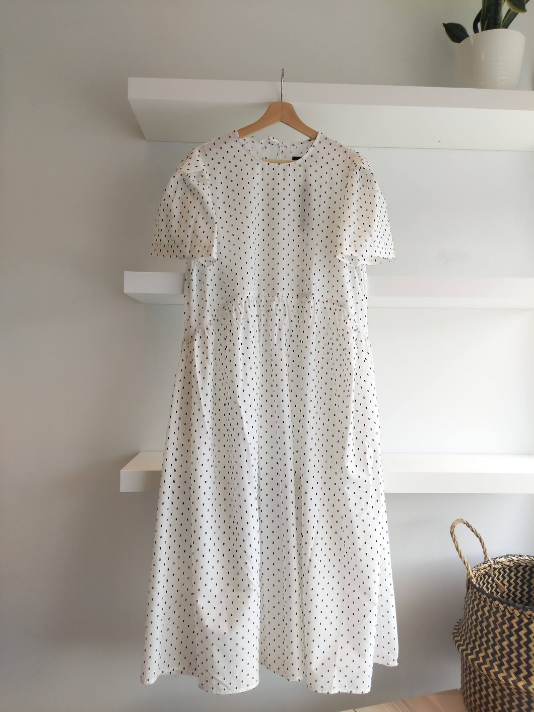 Spring Garden Dress in White & Black