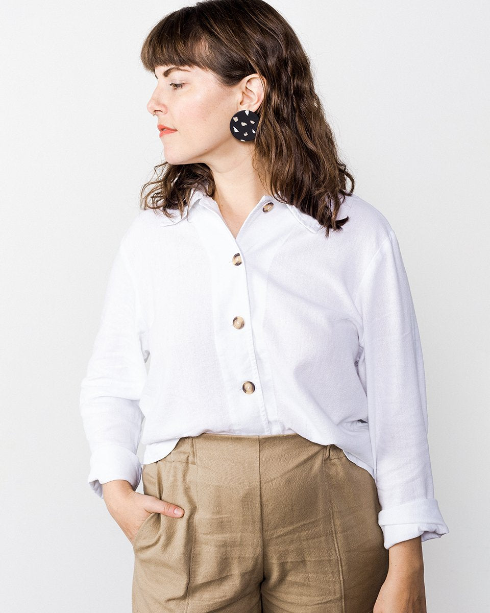 me & arrow Crop Shirt in White button down