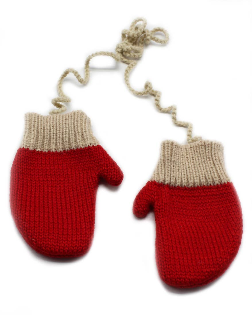 Connected Mitten Ornament in Red
