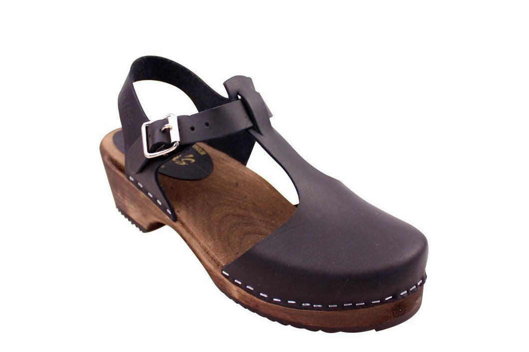 Low Wood T-Bar Clog in Black on Brown Base