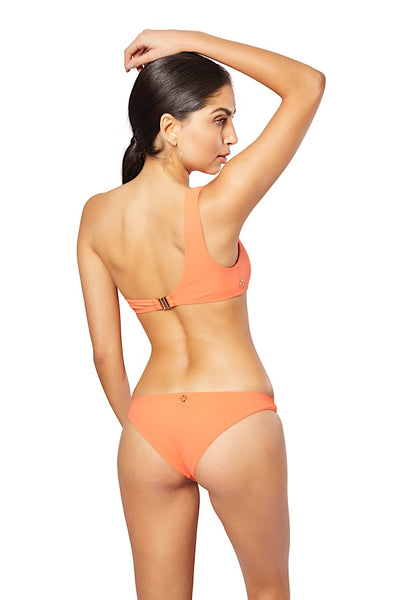 Alma One Shoulder Bikini Top, Coral