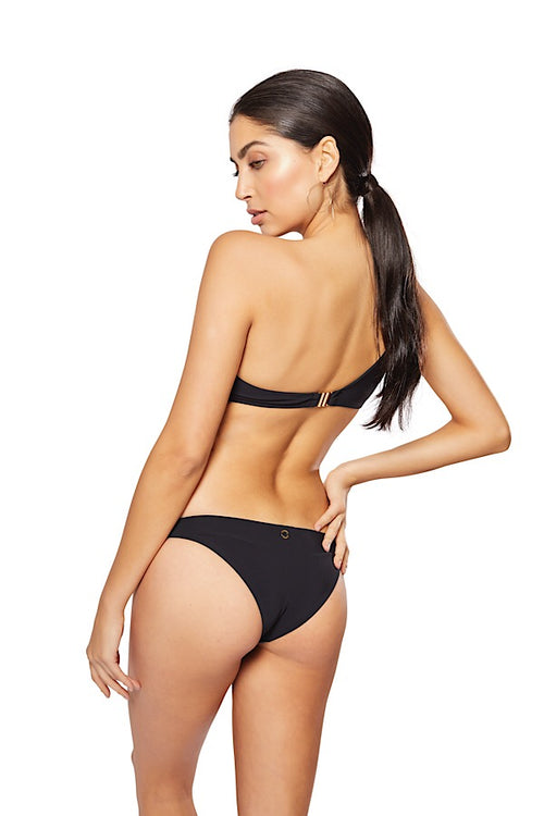 Alma One Shoulder Bikini Bottom, Black