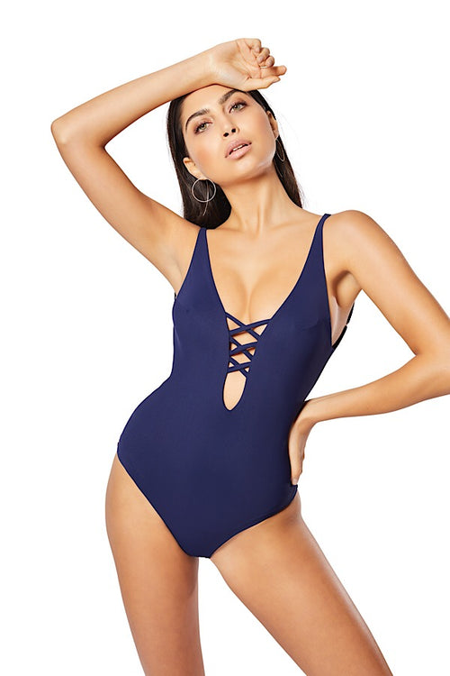Penelope Lattice One-Piece, Navy