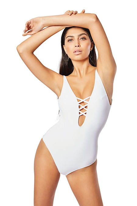 The Domino One-Piece,  Blush/Contrast Burgundy