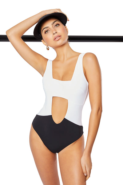 The Solange One-Piece,  White/Contrast Black