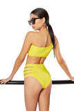 The Elektra Cut-out High Rise Brief, Solid Canary Yellow
