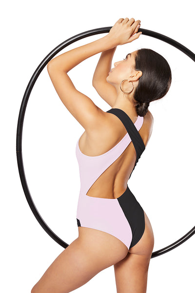 The Domino One-Piece, Black/Contrast Blush