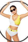 The Honey Bikini Top, White/Contrast Canary